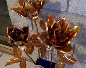 Copper Garden Art Garden Rose Cluster of 3 Roses Long Stem Copper Everlasting Rose Bouquet Wedding