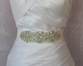 "Rhinestone & Pearl Sash, Custom Colors Wedding Belt, Crystal Bridal Sash, 7"" of Rhinestones - DITA"