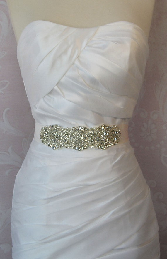 "Rhinestone & Pearl Sash, Custom Colors Wedding Belt, Crystal Bridal Sash, 7"" of Rhinestones - DITA"
