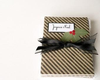 Christmas Cards - Joyeux Noel Holiday Cards, Handmade Cards, French, Holly, Kraft Tan, Black, Vintage Look, set of 12 - Nouveau Nancy