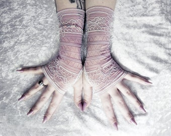 Cadence Lace Fingerless Gloves - Mauve Putty Antique Rose French Floral - Wedding Gothic Regency Tribal Nude Austen Bridal Neutral Deco Mori