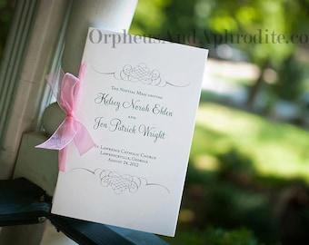 Romantic Wedding Programs, Catholic Wedding Program, Silver Wedding Programs, Order of Ceremony - Flourish Program with Organza Ribbon