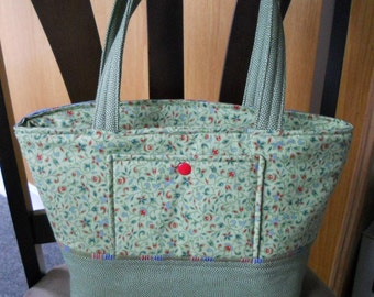 Green Floral Tote, Purse, Zippered Tote Bag, Sage Green Vegan Bag, Made in Maine