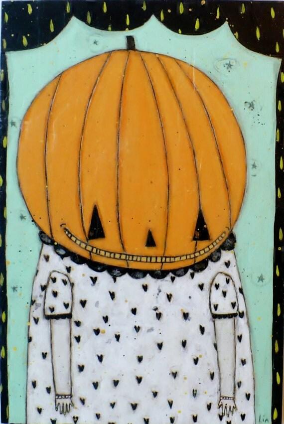 Creepy Halloween Folk Art mixed media Pumpkin Painting 8x12 Original Primitive Bees wax