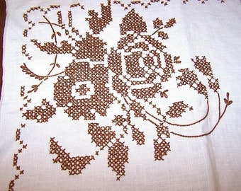Vintage Cross Stitch Brown Rose and White Cotton Table Runner