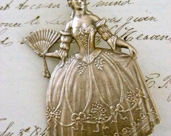 Vintage Brooch - Queen Jewelry - Marie Antoinette - Vintage Brass Jewelry - handmade jewelry
