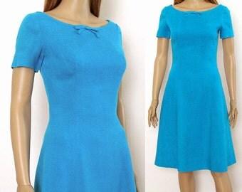 Vintage 1960s Dress Turquoise Bright Aqua Curvy Dress /  Extra Small