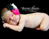 Hot Pink Black and White Vintage Style Shabby Chic Damask Flower Baby Headband - Newborn - Infant - Toddler - Girl - Photo Prop