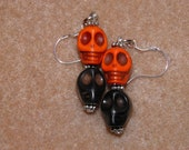 Day of the Dead Earrings, Sterling Silver with Pumpkin Orange and Black Turquoise Skull Jewelry, Halloween Earrings, Halloween Jewelry, OOAK