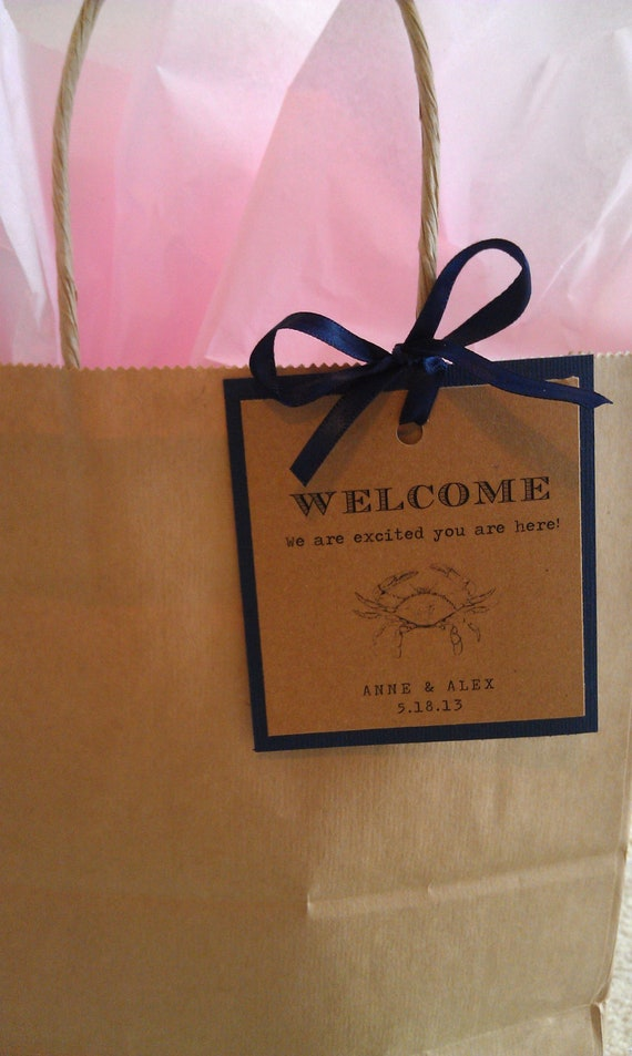 Labels For Wedding Gift Bags : Items similar to 25 Welcome Tags with ribbon for guest bags on Etsy