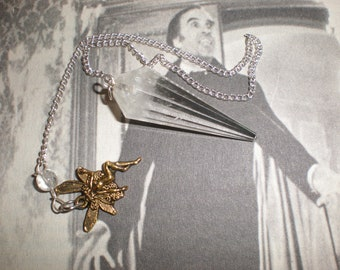 Quartz Crystal Prism Divination Tool Pendulum Fairy Metaphysical Energy Stone On Silver Chain With Bronze Fairy Charm