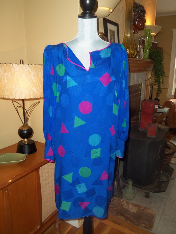 80s FLORA KUNG SILK--Tunic Dress--Throwing Shapes--Cobalt, Fuchsia, and Electric Green--Size 8/10