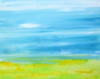 "ABSTRACT LANDSCAPE  Original painting -24""x36"" blue green yellow modern painting"