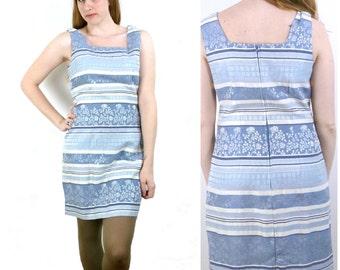 Vintage Blue Brocade Dress / Striped Shift Dress / A Line Dress M