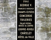 SMALL Paris Metro Subway Sign, French Bus Scroll Art, Canvas Paris Poster, Paris Décor, French Sign, Typographic Print, Roll Sign. 12 x 36