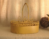 French Country Painted Basket / Large Wood and Cast Iron Basket in Honey Mustard
