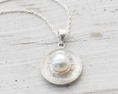 Pearl Necklace, Sterling Silver Pendant on Chain, Solitaire Pearl Necklace, Dainty Bridal Jewelry, Bridesmaid Necklace, June Birthstone