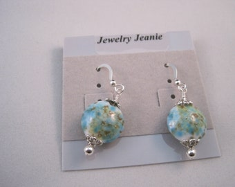 Turquoise, Teal and Tan Lampwork, Sterling Silver Earrings    ES802