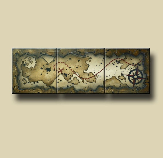 Abstract Pirate's Map Painting with Heavy Texture -- 20 x 60 -- A Pirate's Life for Me by Britt Hallowell