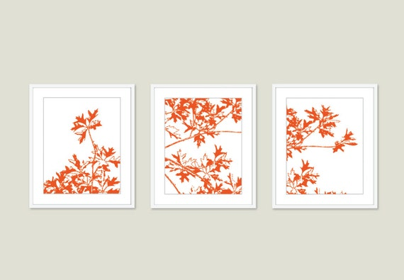 Autumn Tree Art Prints - Tree Trio - Maple Tree Branches Wall Art - Orange Orange Tango - Modern Nature Art - Fall Tree Wall Art