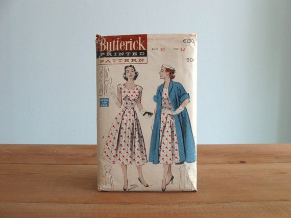 50s pattern / 1950's Butterick 6130 full skirt Dress & Coat ... a Quick and Easy Sewing pattern