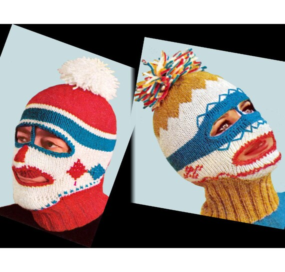 Balaclava Knitting Pattern Straight Needles : Vintage Knitting Pattern 1960s Ski Mask by 2ndlookvintage on Etsy