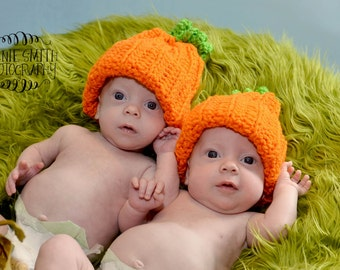 Twin Pumpkin Hats, Crocheted Twin Hats, Twin Pumpkin Hat Photo Props, Twin Fall Hats, CbbCreations