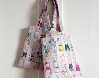 Fifi Lapin Mini Fashion Tote Bag in pale peach - 'What Shall I Wear Today'