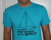 Sailing Hybrid Tshirt, Size Large, Ring Spun Cotton, Gift for Sailor or Eco Conscious