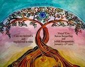PERSONALIZED WEDDING GIFT - Jewish Wedding - Anniversary gift - Jewish Judaica Art Print - Linked Trees