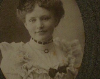 Cabinet Photo Angelic Woman in White Lace of Kutztown PA Ruffled Lacy Blouse - Antique Photo