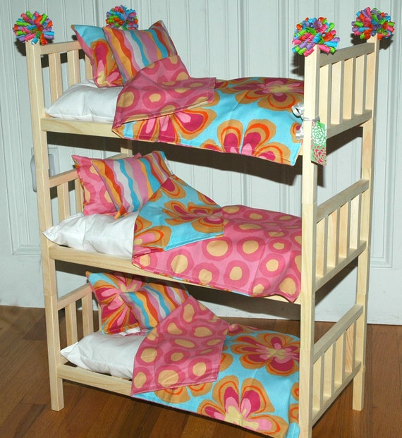 american girl triple doll bed triple bunk bed wacky flowers. Black Bedroom Furniture Sets. Home Design Ideas