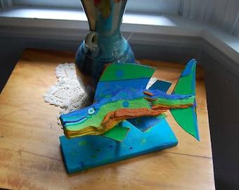 Painted Fish Art - Handmade Wood Art - Original Table Top Colorful Funky Fish Whimsical Art Decor