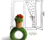 Mini cactus ring in ceramic pot with orange flower ready to ship