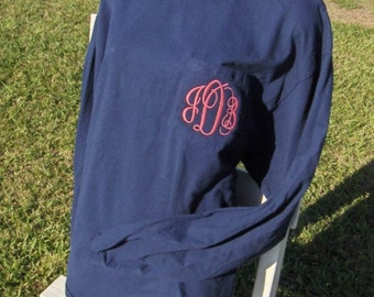 Monogram Long Sleeve Pocket Tee Tshirt Pocket Sewn Closed Monogram On Pocket Plus Size up to 3XL