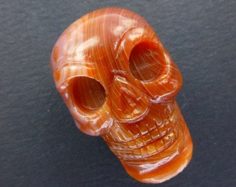 AGATE SkULL. Lake SuPERIOR Agate. Candy Striper. Hand Carved Skull. LaRgE. Memento Mori. 1pc. 81.25cts. 31x21x18 (ch103) Can Be Drille
