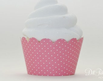 Pink & White Polka Dot Cupcake Wraps - Set of 24 - Standard or Mini Size