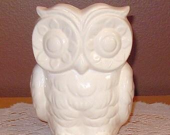 Tiki Owl Ceramic Owl Planter / Vase- Vintage Design  -  Classic White