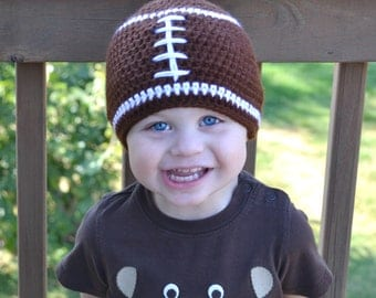 Crochet Baby Football Beanie - Newborn to Adult - Chocolate and White - MADE TO ORDER