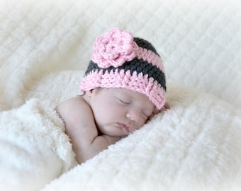 Crochet Baby Beanie Newborn to 5T Flower Hat Charcoal/Soft Pink - MADE TO Order