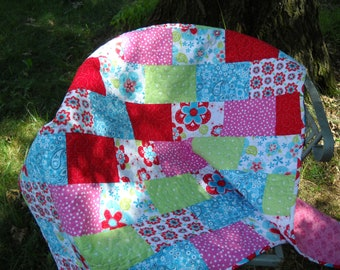 Handmade Aqua Pink Green Paisley Floral Quilt, Baby Crib Quilt, Quilted Throw, Quiltsy Handmade