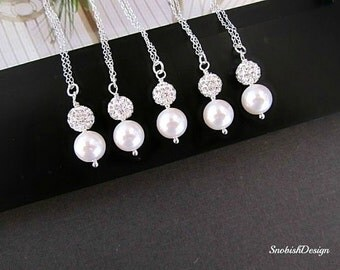 Bridesmaid Necklace, Single Pearl Necklace, Bridesmaid Gift, Dainty Necklace, Wedding Necklace, Bridal Necklace, Bridal Jewelry, Set of 5,