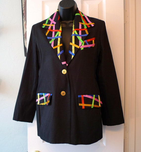 Todd Oldham Blazer Vintage Black Fitted Jacket Tailored Designer Times Seven Womens Small Rainbow Ribbon Trim 1980s