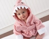 """Infant's Personalized """"Let the Fin Begin"""" Hooded Shark Towel - Pink"""