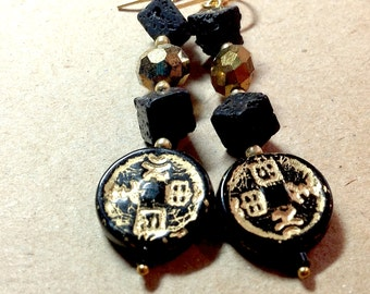 Black & Gold Earrings - Asian Medallion - square black lava beads - gilt czech glass -  japanese chinese characters luck 14kt gold filled  -
