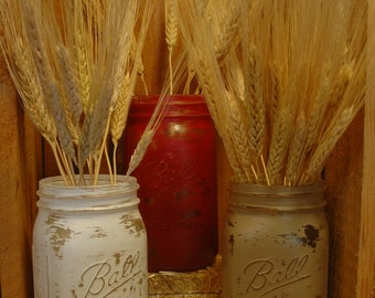 Down by the Barn painted mason jars set