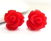 Cherry Red Rose Stud Earrings