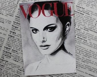 Vogue. Natalie Portrman. Fashion Illustration. ACEO art print.