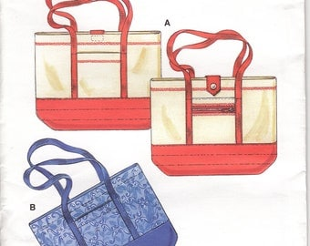 """TOTE BAGS Sewing Pattern UNCUT Carry All with Button Closure and Pockets - Size 12"""" x 16"""" (30 x 40 cm) - Kwick Sew - S"""