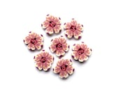 """Flower BUTTONS 10/16"""" - 16mm - Set of 7 pink white buttons, DIY supply set - handmade polymer clay artisan suppplies - boutons fimo"""